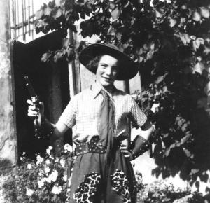 Romy Schneider in Western garb, 1952.